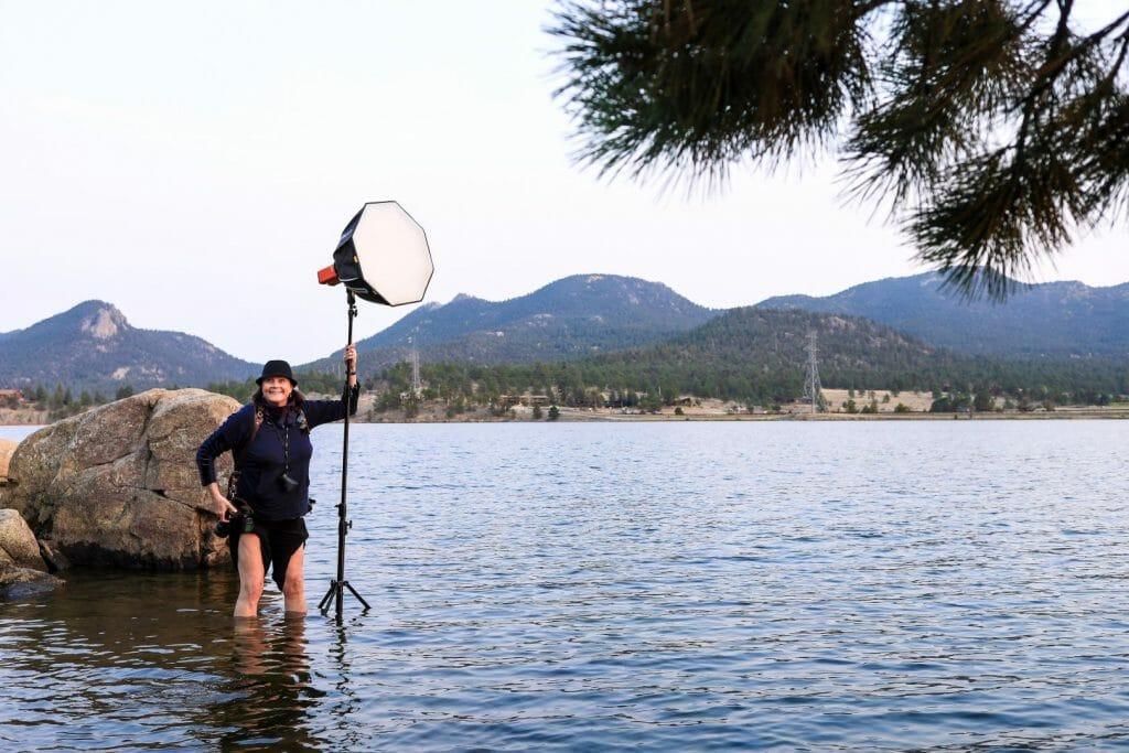 Gretchen working in Estes Park Lake